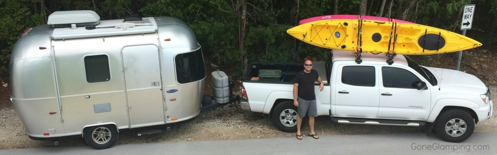 Bambi Airstream and the Truck with Kayaks
